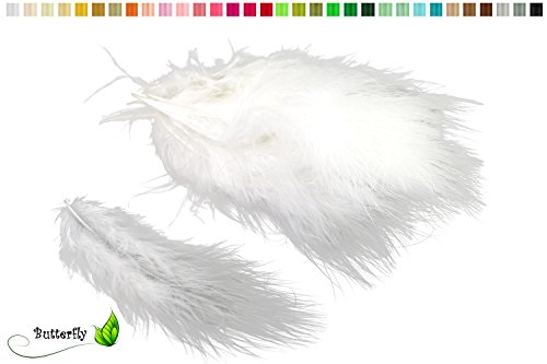 Marabufedern ca. 20 Stück, 12-17cm (weiß 029)//Dekofedern Bastelfedern Marabu Federn Schmuckfedern