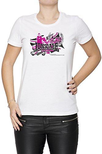 Lonsdale Donna T-shirt Bianco Cotone Girocollo Maniche Corte White Women's T-shirt