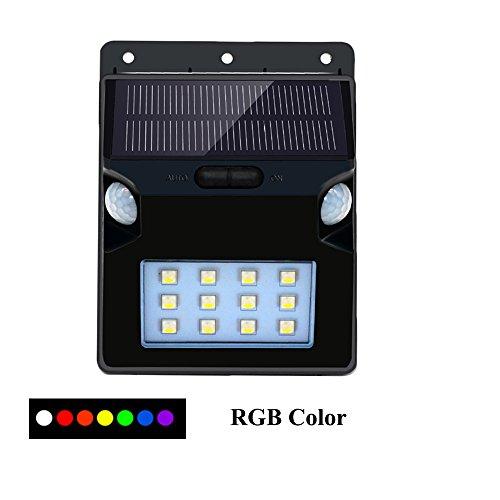 Solarleuchten Outdoor, aveki 7Farbwechsel Solar Motion Sensor Lichter 12LED Solar Licht Dual Motion Sensor 180° Weitwinkel Wasserdicht, 12leds RGB