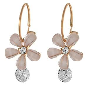 Zephyrr Jewellery Hanging Hoop Earrings Flower White Stone Zircon for Women and Girls
