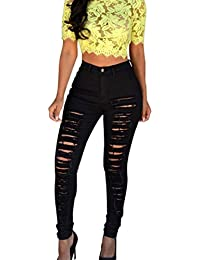 HCFKJ Femmes Skinny Ripped Trous Jeans Pantalons Taille Haute Stretch  Dentelle Vintage Leggings Sexy Collant Crayon 157eaec89b15