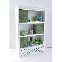 Dolls House Miniature Bathroom Furniture Shelf Unit L Green Towels & Accessories