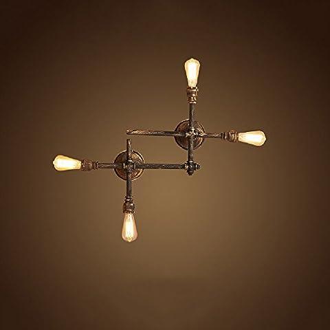 Crayom Finition robuste de la lampe murale en acier inoxydable industrielle Lampe en fer personnalisée de crémeuse applique murale en tuyau d'eau Lampes à bulles Cross Iron Edison (taille: 78 * 90cm)