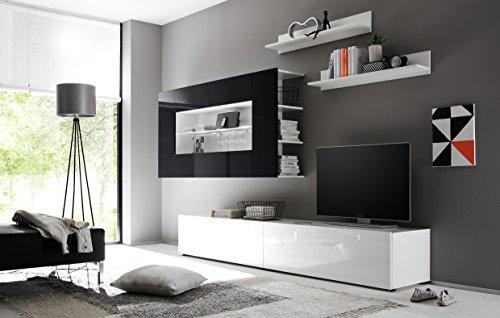 Wohnwand Anbauwand Athen in Weiß / Schwarz Hochglanz - 2