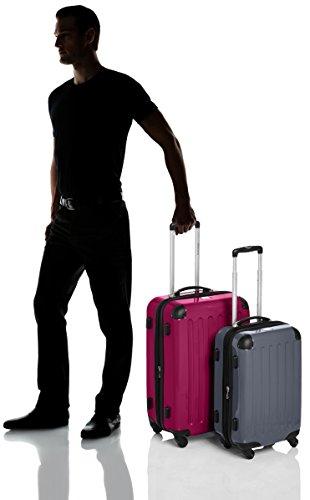 HAUPTSTADTKOFFER - Alex - 2er Koffer-Set Hartschale glänzend, TSA, 65 cm + 55 cm, 74 Liter + 42 Liter, Orange-Aubergine Magenta-Silber