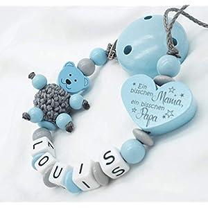 Schnullerkette mit Namen Wunschname Baby Junge Motiv TEDDY Bär + Häkelperle Babygeschenk Geburt Taufe
