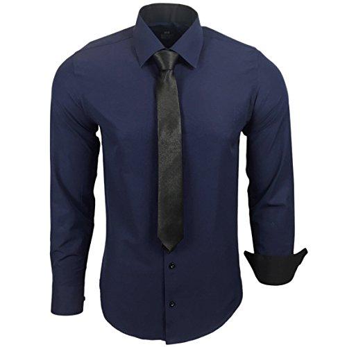 Rusty Neal R-44-KR Herren Kontrast Hemd Business Hemden mit Krawatte Hochzeit Freizeit Fit Marine