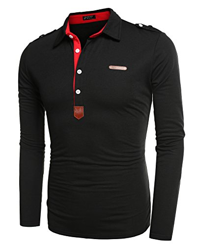 Coofandy Herren Poloshirt Langarm Elegante Regular Fit Langarmpolo für Männer Schwarz