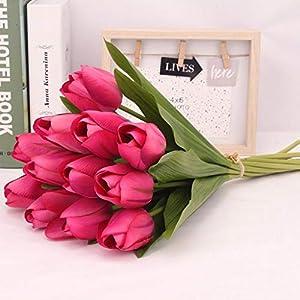 Fang Fans – 12 Tulipanes Artificiales de látex, para Novia, Boda, Ramo de Tulipanes Falsos, decoración del hogar…
