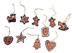 Idea Regalo - Frank Decorazioni per Albero di Natale con Biscotti di Pan di Zenzero in Terracotta, Confezione da 10 Pezzi