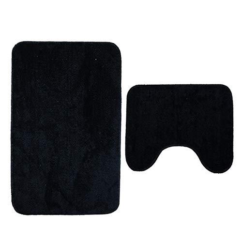 WYPJ Alfombra De Baño Memoria Antideslizante Espuma de Espuma Contorno Alfombra de baño Alfombras absorbentes Alfombras de baño Lavables Azul Estera De Baño De Absorción De Agua (Color : Negro)
