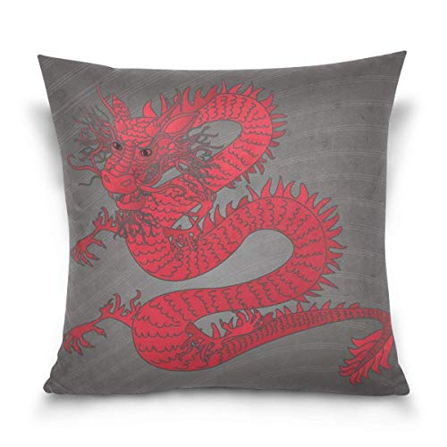 Klotr federe cuscino divano, red dragon decorative square throw pillow case cushion cover for sofa bedroom car double-sided design 18 x 18 inch