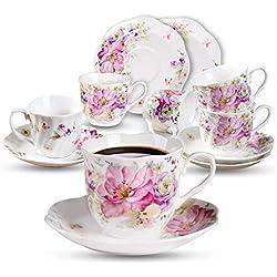 GuangYang Tasses à Café Thé en Porcelaine Anglaise - 220ML Tasses à Cappuccino Moka en Fleurs Vintage Cadeau en Céramique Ensemble de 6 Tasses et 6 Soucoupes