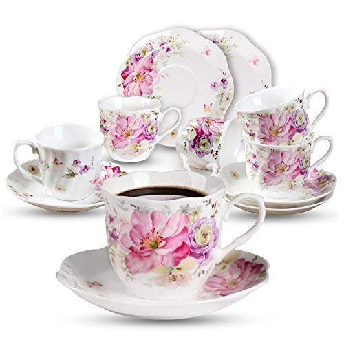 Kaffeetassen mit Untertasse Rosa Blume Set 7oz Neue Bone China Kaffeeservice 6 Personen Tassen mit Untertassen Blumen Muster Porzellan Set 220ml
