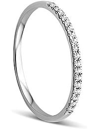 Orovi Anillo Señora compromiso/aniversario en Oro Blanco con Diamantes Talla Brillante 0.09 ct Oro