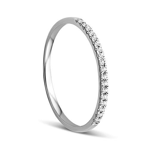 Orovi Anello Donna Eternity/Veretta in Oro Bianco con Diamanti Taglio Brillante Ct 0.09 Oro 9 Kt/375
