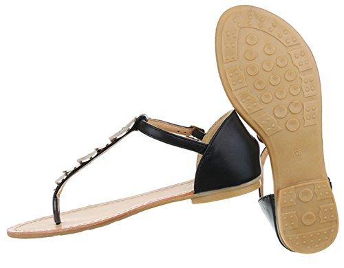 Damen Sandalen Schuhe Sommerschuhe Strandschuhe Zehentrenner Schwarz Weiß 36 37 38 39 40 41 Schwarz
