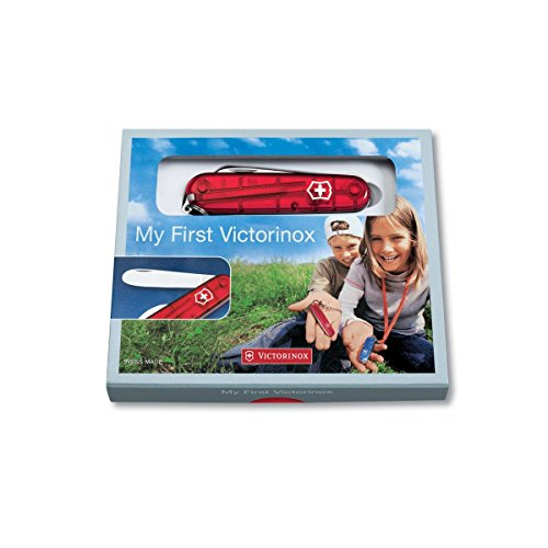 41JeHzWaAzL. SS500  - Victorinox My First Victorinox H Swiss Army Pocket Knife for Children, Small, Multi Tool, 8 Functions, Transparent Red