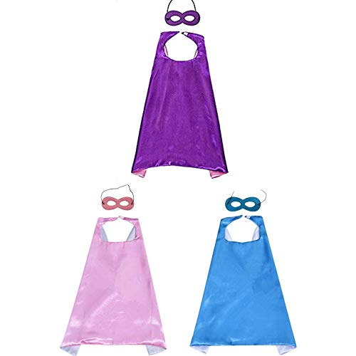 Longsing Kinder Umhang Maske Kostum Kinder Partei Verkleiden Sich 3 Capes mit 3 - Kind Mädchen Superheld Kostüm