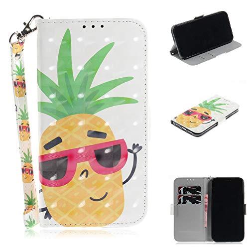 Cozy Hut iPhone XR Hülle, PU Leder Tasche mit Intern Karte Schlitz, Magnetic Closure mit Standfunktion und Handy Gürtel Schutzhülle für iPhone XR - Sonnenbrille Ananas