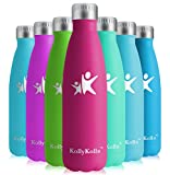 KollyKolla Vakuum Isolierte Edelstahl Trinkflasche, 650ml BPA Frei Wasserflasche Auslaufsicher, Thermosflasche für Kinder, Schule, Mädchen, Sport, Outdoor, Fahrrad, Büro, Fitness (Voll Rose Rot)