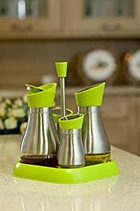 Casatii Stainless Steel and Toughened Glass Cruet Set with Rack - Set of 4 (Green) by Casatii