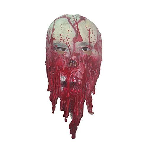 Jingya Zombie Maske Halloween Latex Horror Blood Drop Maske Monster Kostüm Vollkopf Maske Walking Dead Zombie Gruselige Cosplay Maske (Halloween Skelett Makeup-tipps)