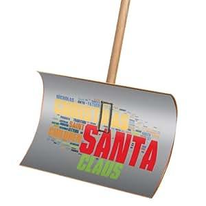 Premium Schneeschieber Schneeschaufel Holz mit Motiv Santa Words 55x35x135cm