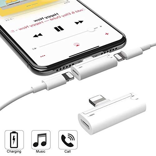 DAEETO Adattatore per Cuffie Adattatore per Auricolari per iPhone 4 in 1 Adattatore per Cuffie Carica iPhone e Musica e Chiamata Compatibile con iPhone XS Max/XR/X/8P/7/iPad/iPod Sistema iOS 12 Mini