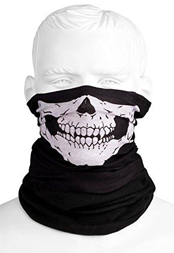 Totenkopf Multifunktionstuch Polar mit Fleece | Skull Motiv | Schlauchtuch | Halswärmer | schwarz | Halstuch mit Totenkopf- Skelettmasken für Motorrad Fahrrad Ski Paintball Gamer Skull Mask