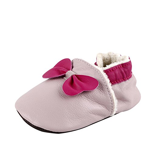 Free Fisher Baby Jungen/Mädchen Winter Babyschuhe Lauflernschuhe Krabbelschuhe gefüttert, Pink Schleife auf Rosa, Gr. 12-18 Monate
