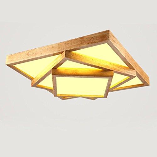 GBYZHMH Deckenleuchten Led Holzdecke Lampe, Wohnzimmer Lampen Massivholz helle Zimmer Schlafzimmer Leuchten Geometrie Holz- Leuchten Deckenbeleuchtung (Größe: S)