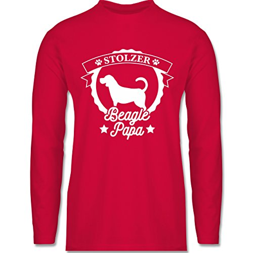 Shirtracer Hunde - Stolzer Beagle Papa - Herren Langarmshirt Rot