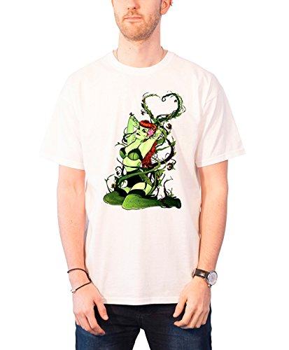 Poison Ivy T Shirt DC Bombshells Nue offiziell DC Comics batman Herren Weiß (Poison Ivy-bombshell Poster)