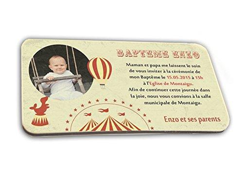 CARTE D'INVITATION en chocolat thème CIRQUE personnalisée avec votre photo et votre texte - pour baptême mariage communion - invitation en chocolat design et moderne rouge et ivoire