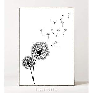 DIN A4 Kunstdruck Poster DANDELION -ungerahmt- Pusteblume, Löwenzahn, Pflanze, Blume, skandinavisch, minimalistisch, boho