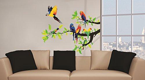 Sticker für Wand – Wandtatoos für Kinderzimmer, Wohnzimmer, Schlafzimmer, Babyzimmer - Wanddeko Modern – 2 x 70x50cm Wandsticker Deko Set Folien Papageien