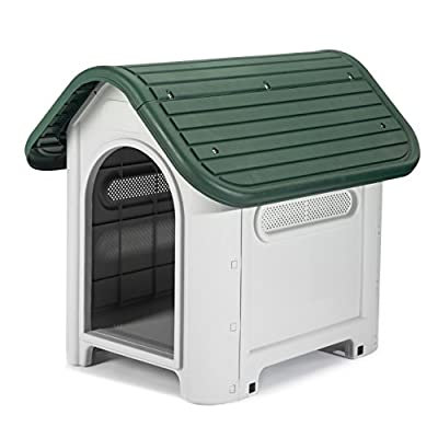 Petology® Deluxe Indoor & Outdoor Plastic Pet Kennels - Available in Small, Medium & Large Sizes - Indoor & Outdoor Pet Shelter Weatherproof Flat Pack Easy DIY Assembly