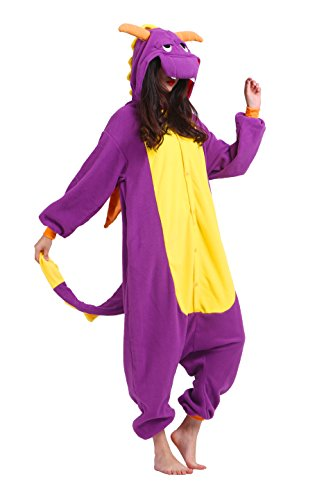 Magicmode Unisexe Adultes Cosplay Dessins D'Animaux Costumes Hoodie Anime Onesie Kigurumi Pyjamas Vêtements De Nuit Purple Dragon S