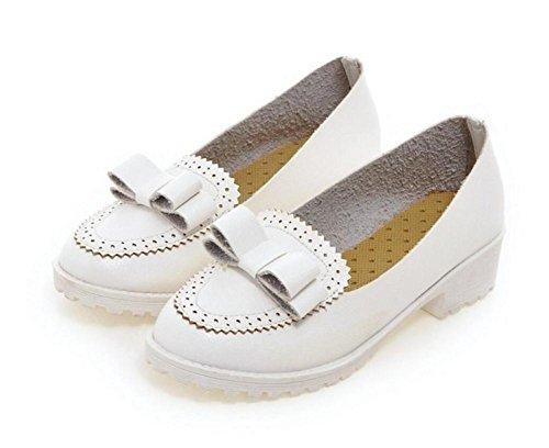 Punta rotonda di spessore con scarpe di Corte tacco molla casuali scarpe basse di aiuto arco con le scarpe dolci white