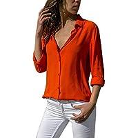 Mujeres Camisetas Tops y Blusas Moda para Mujer Camiseta de Gasa sólida Señoras de la Oficina