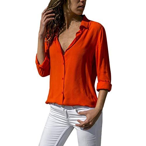Ujunaor camicetta donna elegante elegante camicia a maniche lunghe in tinta unita da donna da ufficio in chiffon tinta unita(small,rosso)