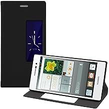 kwmobile Funda potectora práctica y chic con tapicería de cuero sintético FLIP COVER para Huawei Ascend P7 en negro