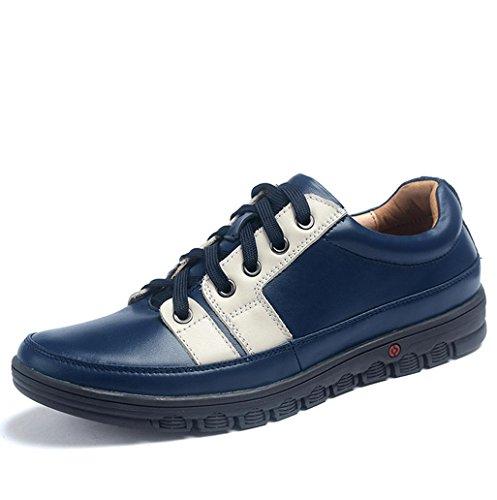 Heart&M ogni giorno casual in vera pelle di uomini turno scarpe stringate in pelle Blue