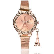 Bestow Reloj de Pulsera de Cuarzo de Acero Inoxidable MEIBO Fashion Women Eiffel Tower Torre Eiffel