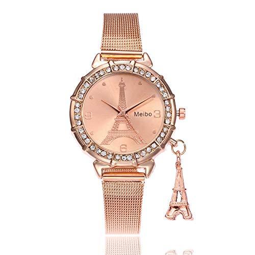 Bestow Reloj de Pulsera de Cuarzo de Acero Inoxidable MEIBO Fashion Women Eiffel Tower Torre Eiffel Net de Hierro