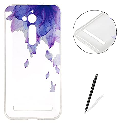 ASUS ZenFone Go(ZB500KL) Silicone Case Clear [with Free 2 in 1 Stylus Pen],KaseHom Unique Stylish Printed Pattern Design Slim-Fit [Shockproof] TPU Rubber Bumper Cover [Scratch Resistant] Transparent Soft Jelly Protective Skin Shell for ASUS ZenFone Go(ZB500KL) - Flower Purple