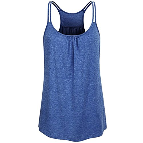 TUDUZ Damen Große Größe Camisole Rundhals Falten T-Shirt Weste Bluse Ärmellos Stretch Tunika Top(XXL,X-Blau)