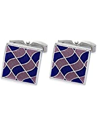 Square Mile Men's Rhodium Plated Base Metal with Multi Colour Pink and Purple Enamel Cufflinks