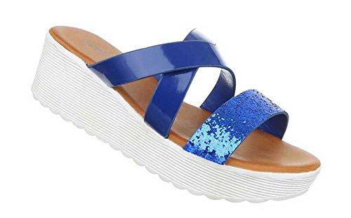 Damen Sandalen Schuhe Sandaletten Schwarz Blau